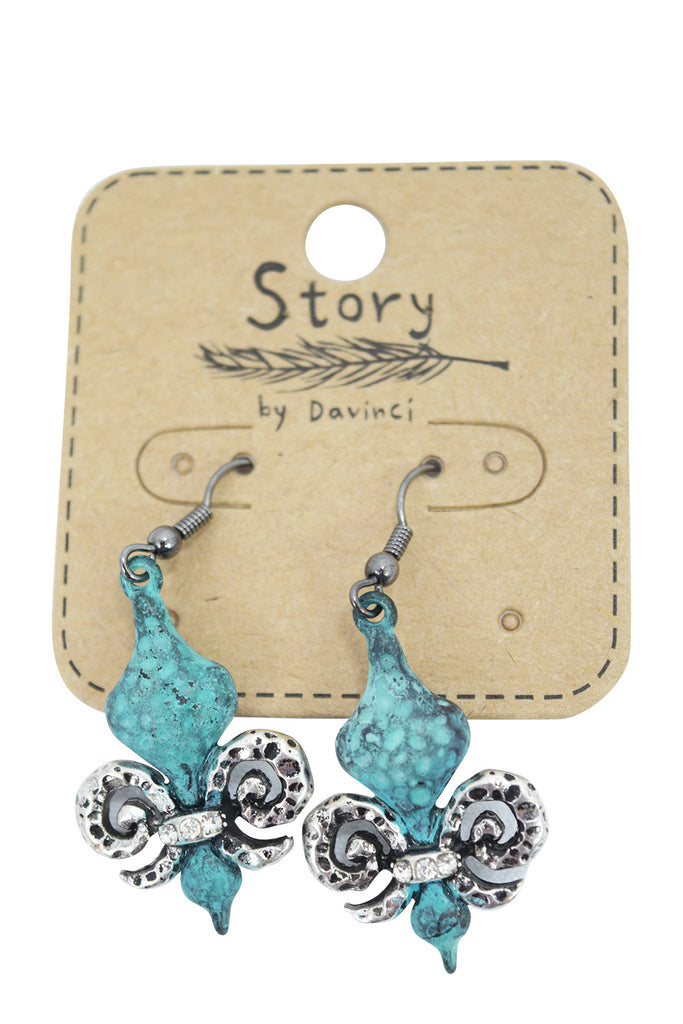 Old West Vintage western Patina Fleur De Lis Charm Earrings - Skelapparel - 1