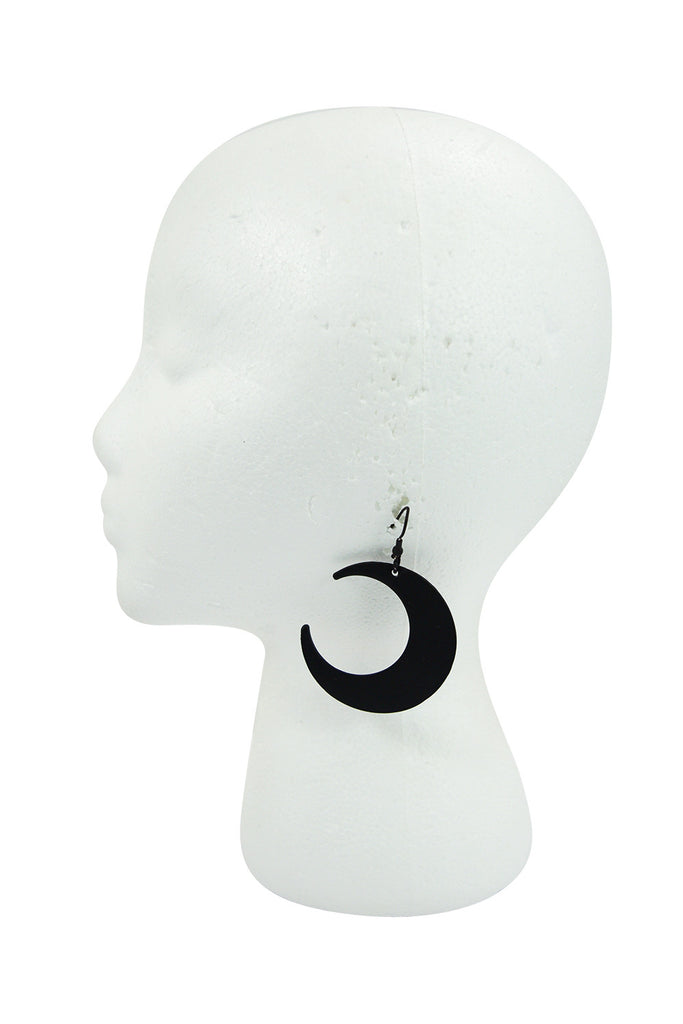 Goth Occult Gothic Luna Large Crescent Moon Matte Black Occult Witch Earrings - Skelapparel