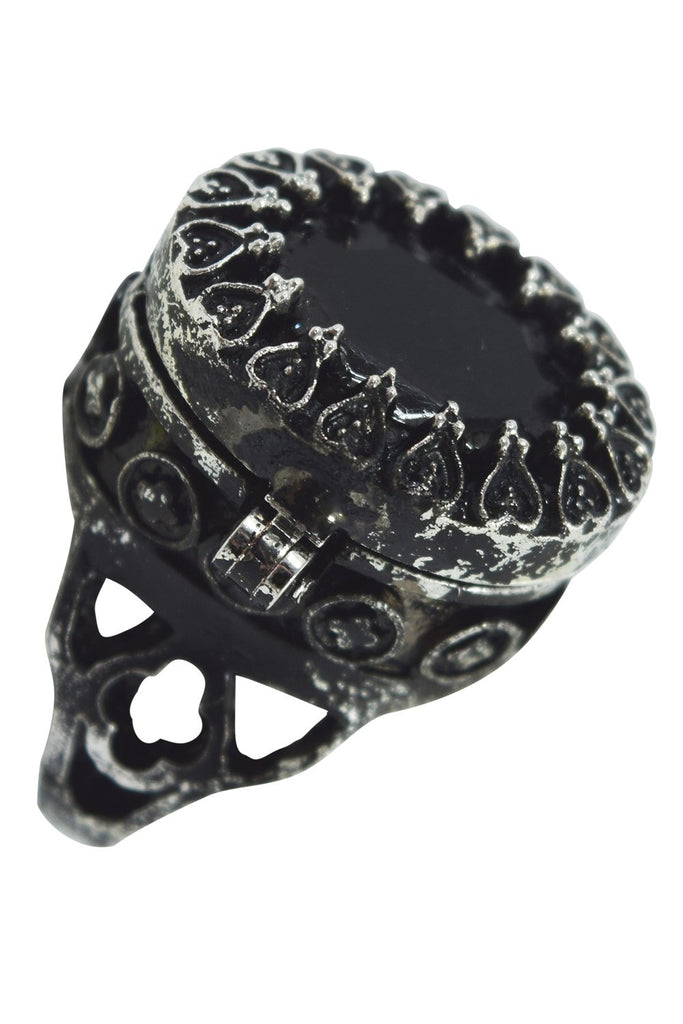 Restyle Gothic Locket Ring Poison Ring Black Oval Ring with Secret Compartment