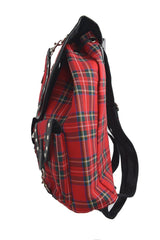 London red tartan punk backpack