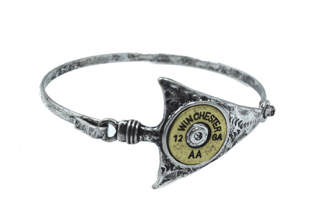 Rustic Western Cowgirl Arrow and Bullet Shell Cuff Bracelet - Skelapparel