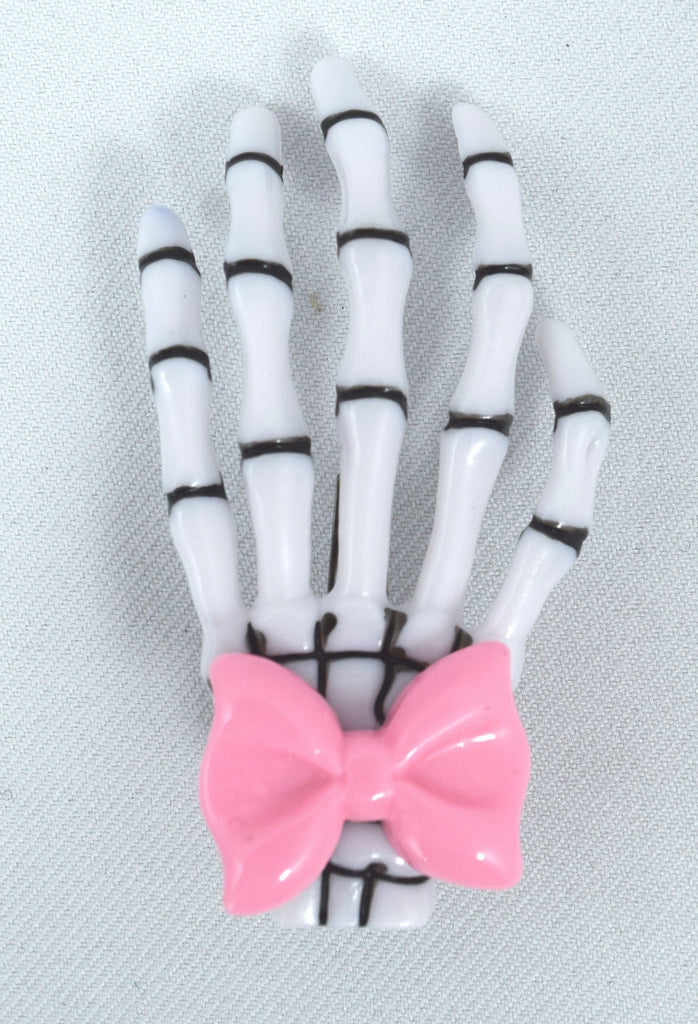 Goth Loli Spooky Cute Skeleton Hands with pink bow Hair Clip - set of 2