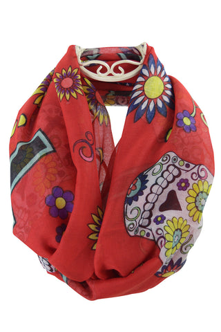 Bohemian Rock Day of the Dead Sugar Skull & Flower Infinity Scarf - Skelapparel