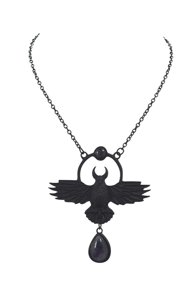 Restyle Nordic Talisman The Crow Pendant Black Purple Quartz