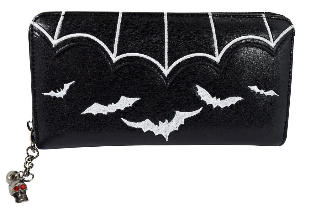 Gothic Witch Gotham Knight Bat Attack Bat Logo Zip Around Wallet - Skelapparel - 2