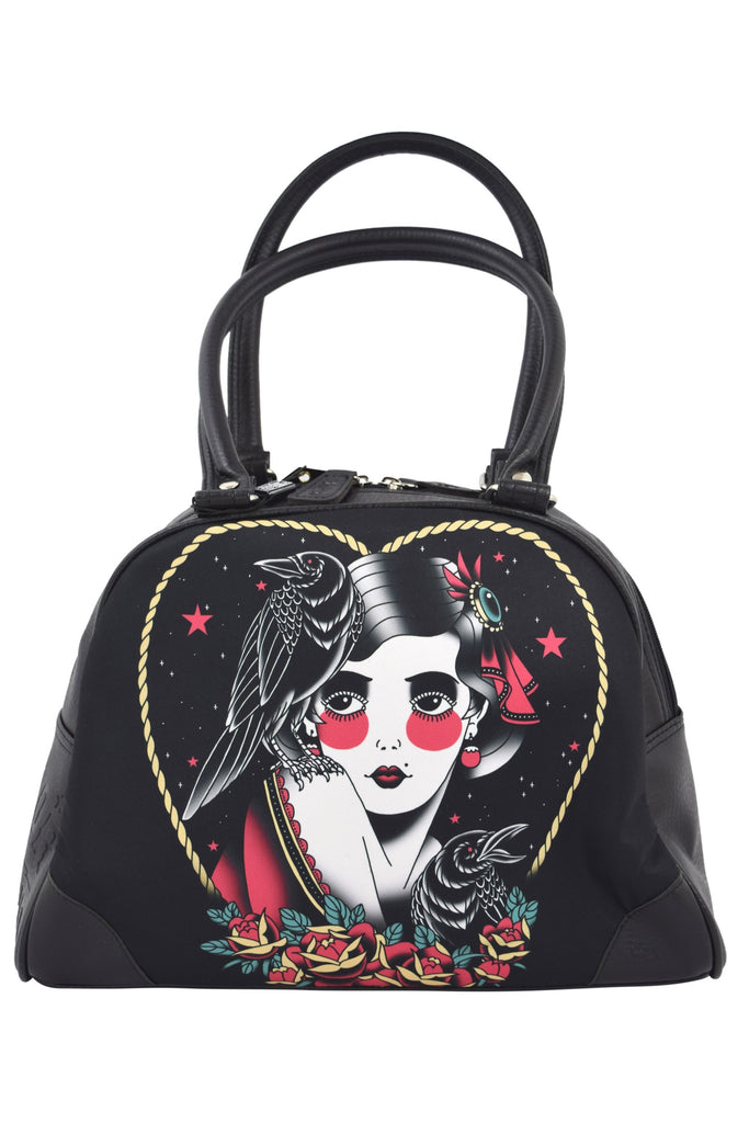 Liquorbrand Gypsy Girl and Crows Tattoo Art Bowler Purse Traditional Gypsy Girl