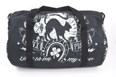 Liquorbrand Jinx Proof Halloween Black Cat Luck Goth Gothic Oversized Duffel Bag