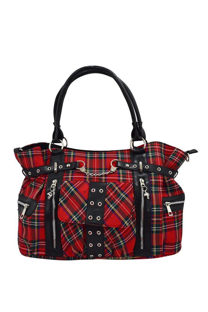 Red Tartan Plaid Punk Rock Purse with Handcuff Skull Charm - Skelapparel