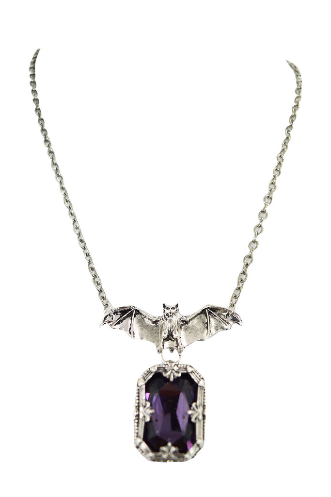 Gothic Vampire Night Whisper Bat and Purple Chunky Gemstone Pendant Necklace - Skelapparel
