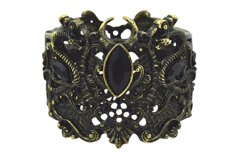 Restyle Pagan Snake Goddess Magical Power black stone Cuff Bracelet