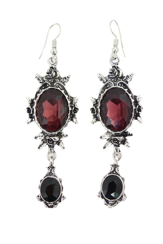 Gothic wine red rose chandelier earrings