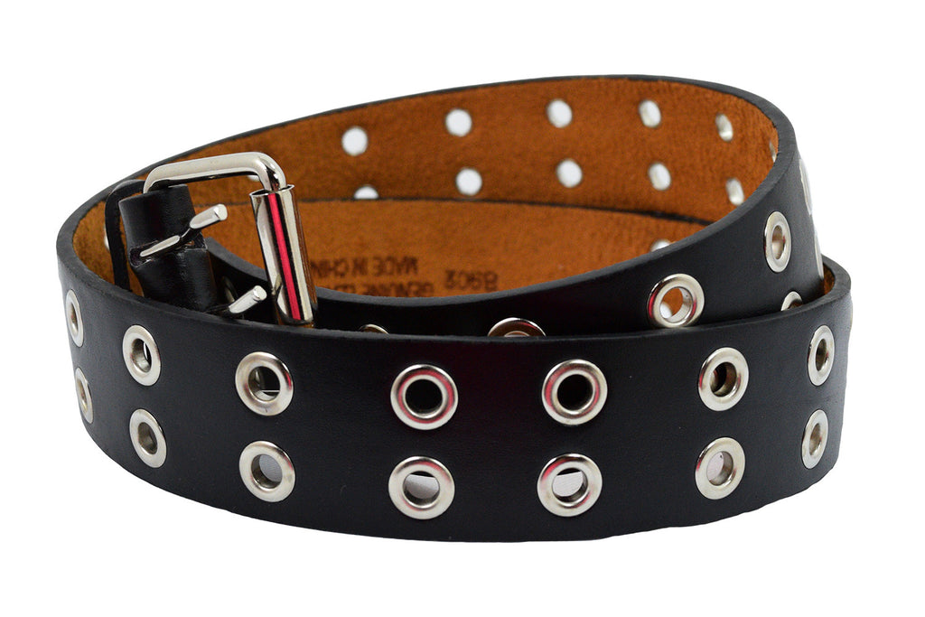 Punk Rock Black Two Row Grommet Holes Leather Belt - Skelapparel