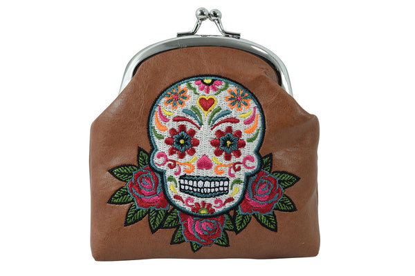 0b7bf223cacd Day of the Dead Rose & Sugar Skull Embroidered Coin Purse