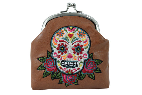 vegan leather Brown Sugar Skull coin wallet