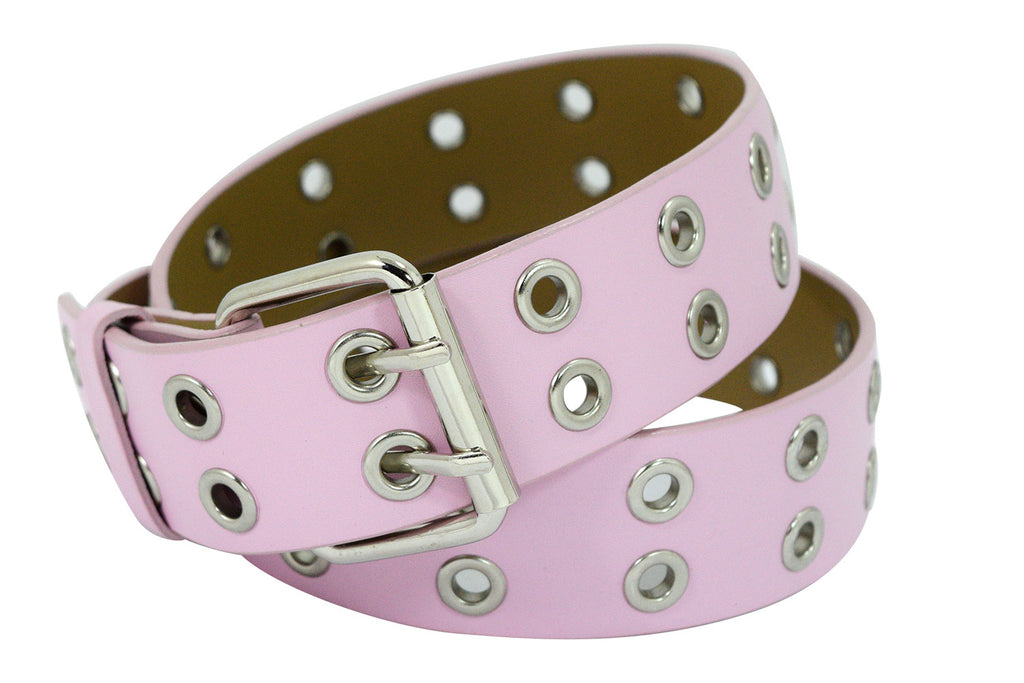Punk Rock Double Grommet Holes Leather Belt 2-Row Studded Leather Belt - Skelapparel