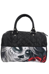 Liquorbrand Eternal Bliss Sugar Skull Lady and Red Roses Small Satchel Purse Crossbody bag - Skelapparel