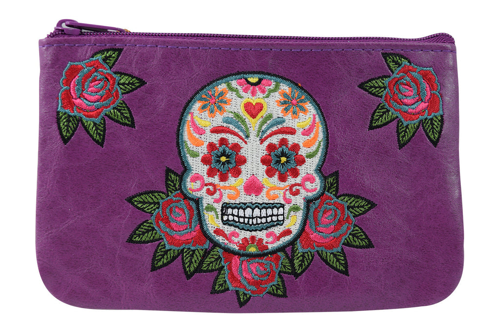 Rockabilly Rose & Sugar Skull Embroidered Small Flat Pouch - Skelapparel