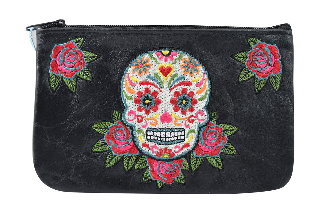 White sugar skull and rose small pouch