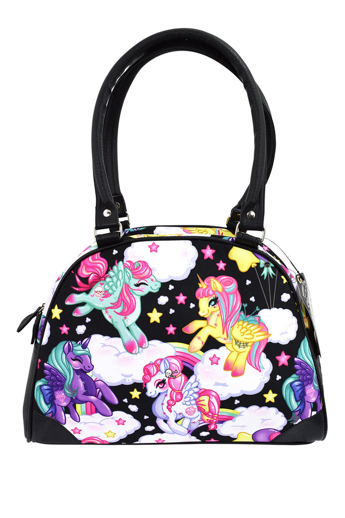 Liquorbrand Rockabilly Lolita Rainbow Unicorns Pony Bowler Bag - Pegasus - Skelapparel