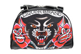 Liquor Brand Traditional American Tattoo Black Panther & Roses Small Bowler Bag - Skelapparel - 2