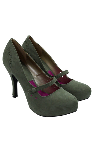 60's Retro Vintage Pinup Mary Jane Olive Vegan Suede Cut Out Pumps - Skelapparel