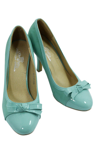 60's Vintage Pin-up Retro Inspired Mint Bow Accent Pump - Skelapparel