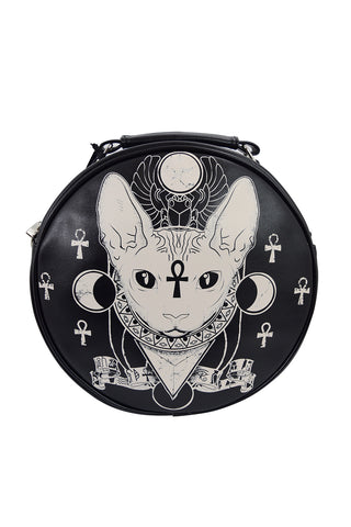 Bastet Sphynx Cat Occult Goth Round Bag Crossbody Bag - Skelapparel