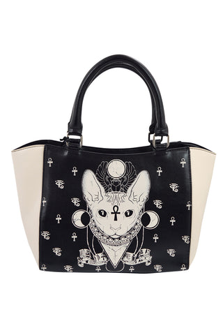Bastet Sphynx Cat Occult Goth Satchel Handbag - Skelapparel