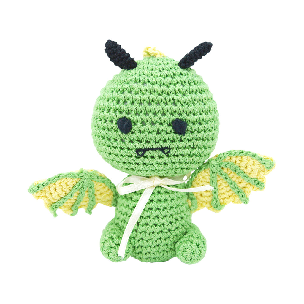 Dog Teeth Cleaning Cotton Crochet Squeaky Dog Toy for Small Dog - Drago The Dragon - Skelapparel