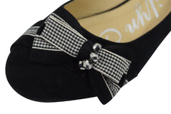 Rockabilly Pinup little Bow and Dazzling Beads Accent Black Ballet Flats Shoes - Skelapparel