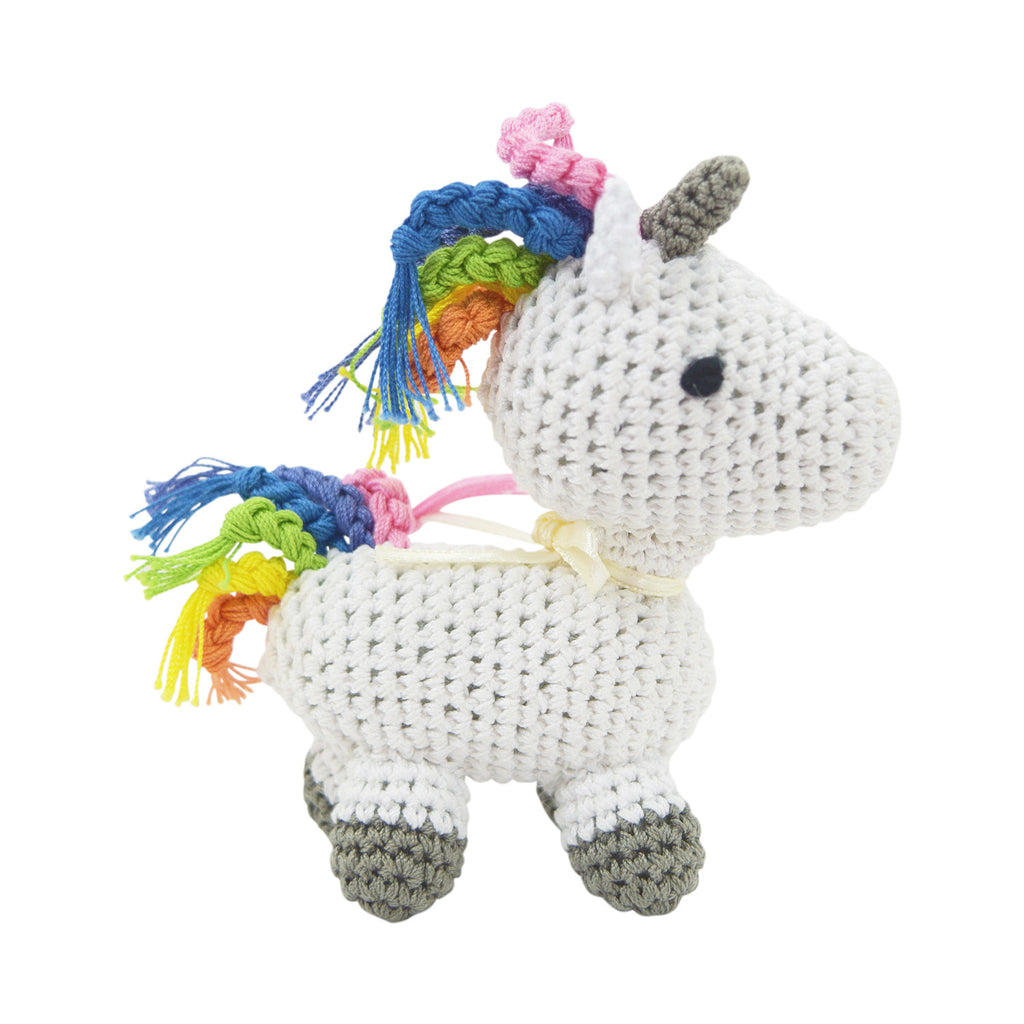 Dog Teeth Cleaning Cotton Crochet Squeaky Dog Toy for Small Dog - Magic Unicorn - Skelapparel