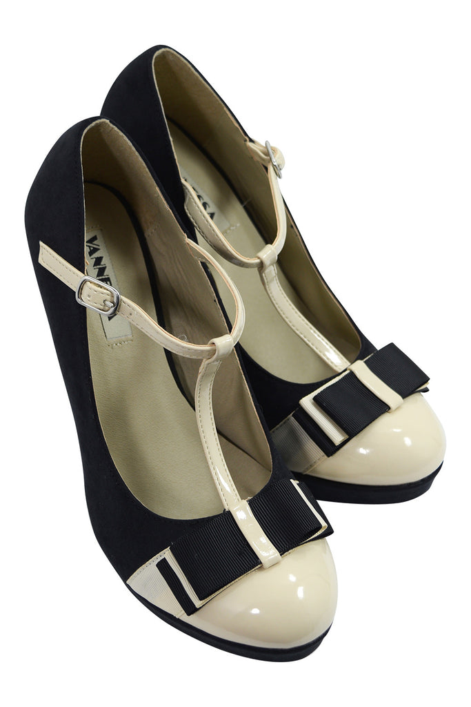 Vintage Inspired Black & Cream Two Tone Bow Accent T-strap Mary Jane Pumps - Skelapparel