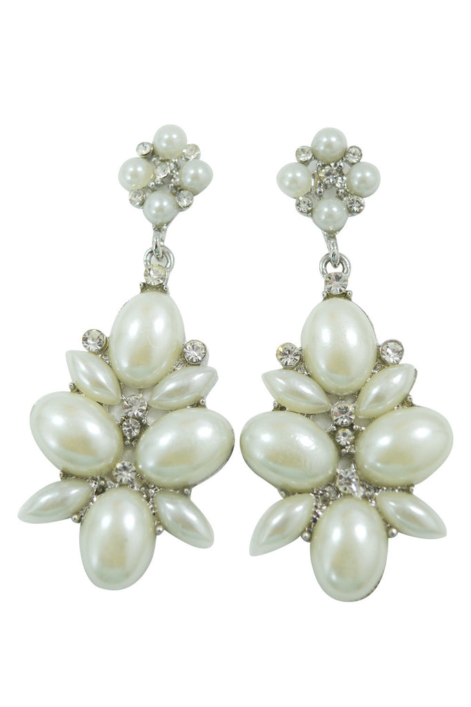 Victorian White Imitation Pearl Flower Cocktail Party Earrings - Skelapparel