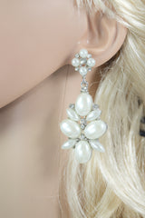 Pearl flower bridal party earrings