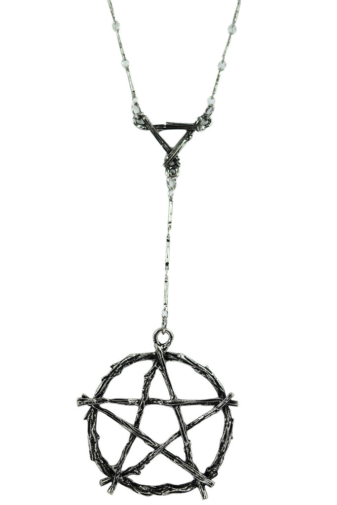 Gothic Witch Occult Wiccan Branch Pentagram Necklace - Skelapparel