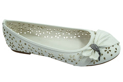 Women's Dress White Faux Leather Floral Cutout Round Toe Ballet Flats Shoes with bow - Skelapparel