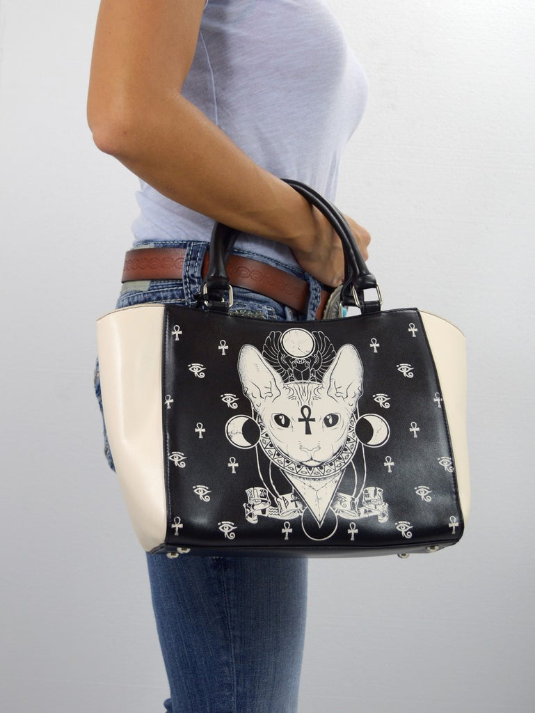 Goth Emo Occult Club Sphynx Cat satchel women's purse