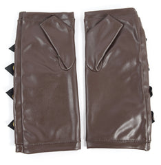 Gothic Steampunk Punk Rock Brown Faux Leather Arm warmers with Buckles