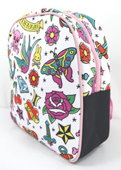 Six Bunnies Girly Tattoo Flash Little Girl Punk rock princess Backpack - Skelapparel