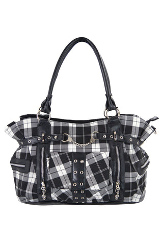 Banned Black White Tartan Plaid Rockabilly Purse with Handcuff Skull Charm - Skelapparel