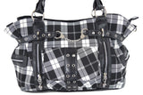 Black White Tartan Plaid Rockabilly Purse with Handcuff Skull Charm - Skelapparel