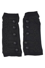 Poizen Industries Goth Punk Button Accent Black Armwarmers Sleeves - Xen