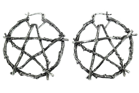 Gothic Witch Occult Wiccan Branch Pentagram Earrings - Skelapparel
