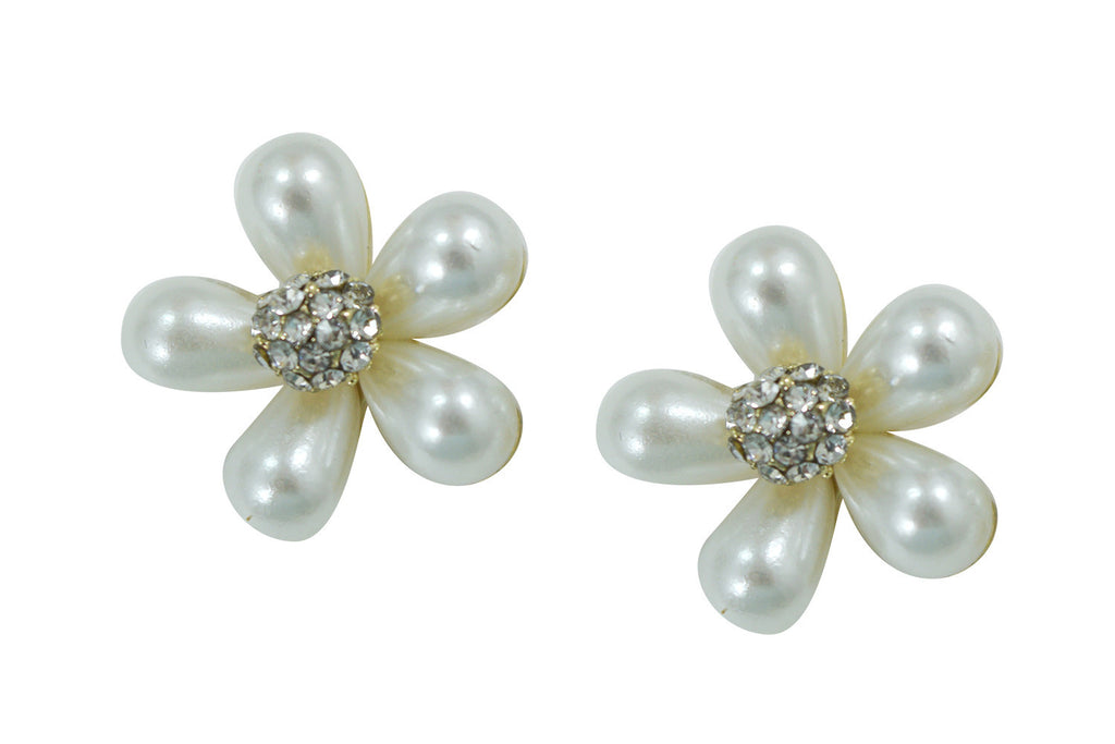 Bridal Wedding white Faux Pearl Flower Earrings - Skelapparel