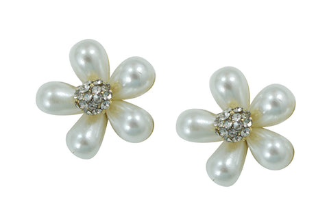 White pearl flower earrings