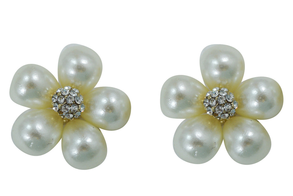 Vintage Bridal white Imitation Pearl Flower Earrings - Skelapparel