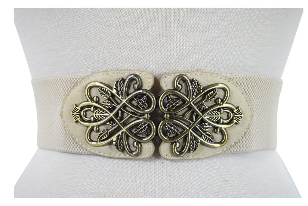 Vintage Design Metal Leaves Buckle Elastic Wide Band Belt Off White - Skelapparel