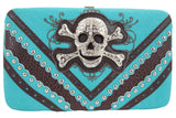 Rockabilly Western Biker Lady Rhinestone Skull Buckle Framed Clutch wallet - Skelapparel