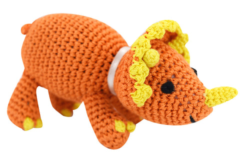 Dog Teeth Cleaning Cotton Crochet Squeaky Dog Toy for Small Dog - Dinosaur Triceratops