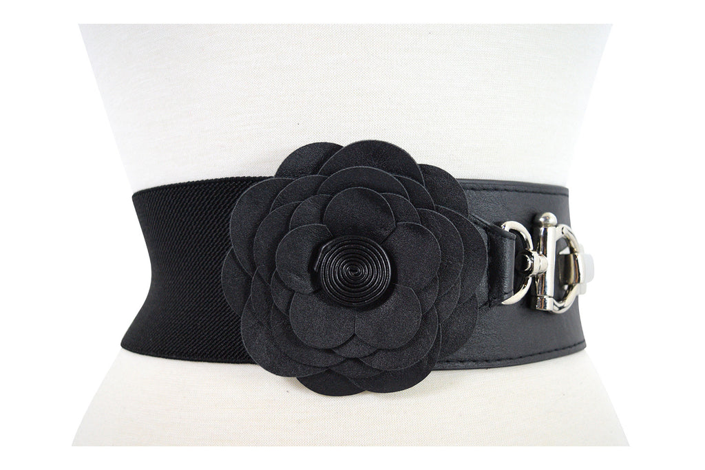 Vintage Pinup Retro Flower Accent Elastic Wide Stretch Waist Belt - Skelapparel